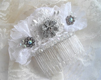 Swarovski Crystal Bridal Veil Wedding Comb With Lace Rhinestones Aurora Borealis Pearls Hand Assembled Designed by handcraftUSA Etsy