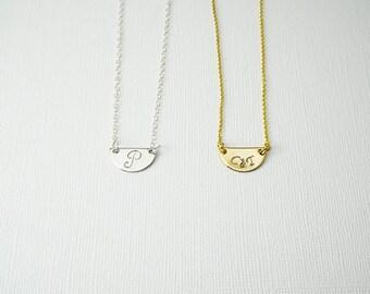 Initial Necklace, Half Circle Necklace, Delicate Necklace, Initial Necklace, Bridesmaids Necklace, Layering Necklace