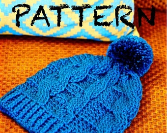 PATTERN Slouchy Winter Hat Crochet PATTERN | Crochet Cabled Chunky Beanie Pattern with Photo Tutorial | Learn to Crochet Cables