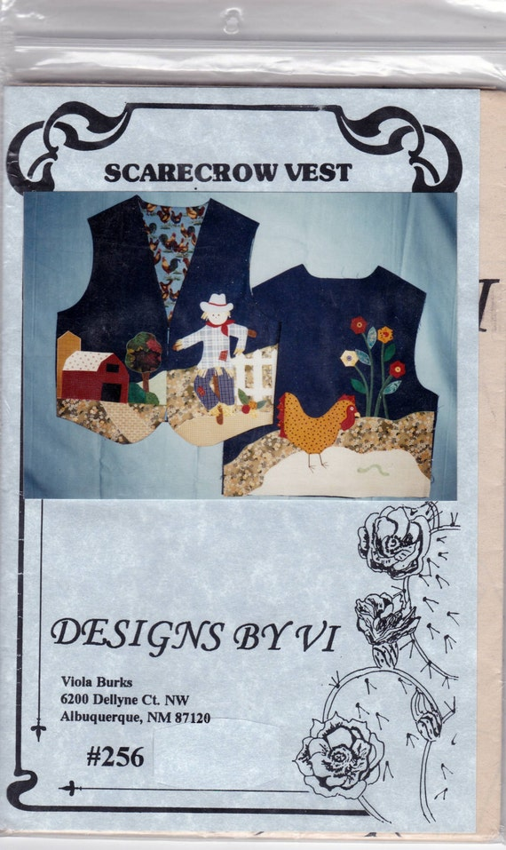 Scarecrow Chicken Barn Applique Quilt Vest Uncut Sewing Pattern Free ...