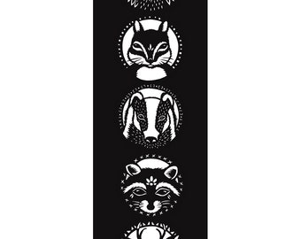 Woodland Critters II - 7 x 20 inch Cut Paper Art Print of Forest Woodland Animals