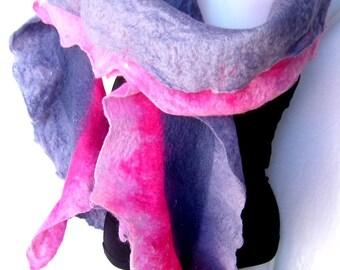 Felted Scarf, Ruffled Wavy, Gray Pink, Merino Wool, Long Skinny Scarf