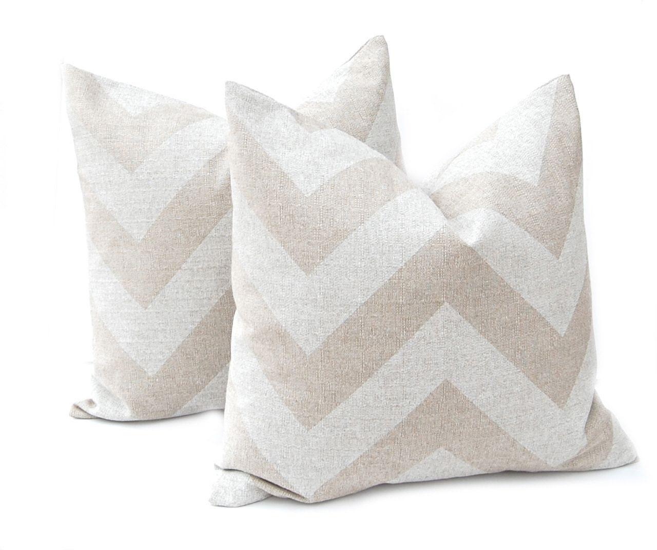 Burlap Pillow Cover Chevron Pillow Tan Pillow Decorative