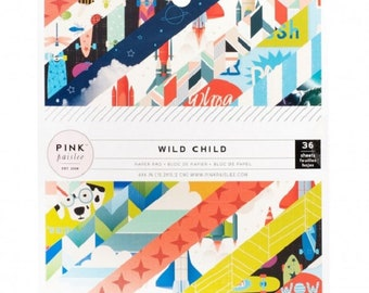 Printed scrapbooking paper for card child collection Pink Paislee Wild Child Boy, block printed paper, for boy, scrapbooking