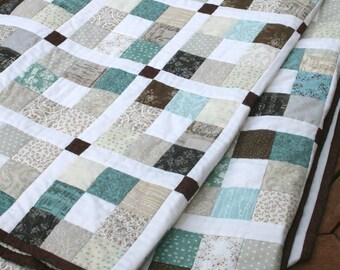 Jelly Roll Quilt Pattern PDF, Modern Quilt Pattern, Baby Quilt Pattern, Scrap Buster Pattern - 5 sizes Crib to King - Saltwater