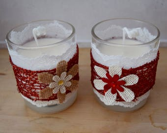 Handmade scented lace soy wax votive candle in glass container