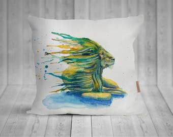 Pillow with lion watercolor motif, hand sewn, 50 x 50 cm, with more individualized back