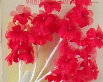 Vintage / Millinery Floral Spray / Red / Christmas / #25 Blooms / Red Stamen Flower Centers