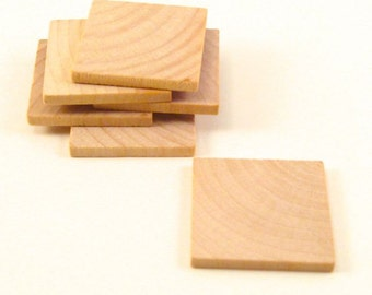 100  Wooden Square Tiles - 1 1/4 Inch Wood Squares Unfinished for Crafting