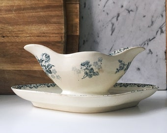 Vintage french weathered and worn double ended sauce boat