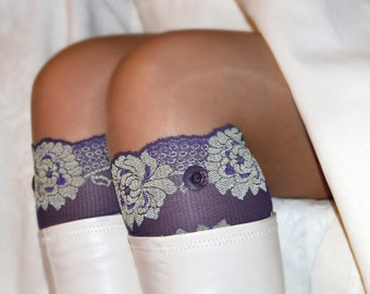Lace Boot Cuffs, Faux Leg Warmers, or Boot Toppers  for Women and Teens in Violet with light beige flowers.  Ready to ship.