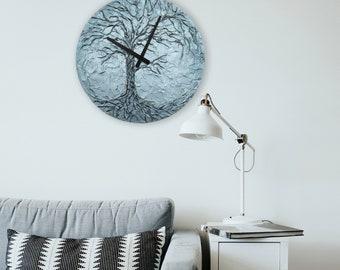 Bluish Silver LIFE OF TREE home decor, life of tree wall clock of tree office decor 15.7 inch diameter Original Painting Life of Tree