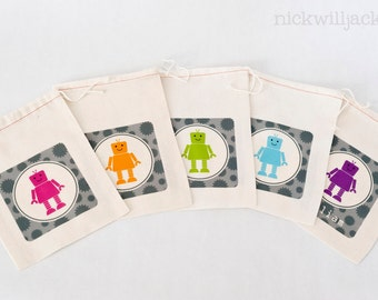 Robot Birthday Party, Robot Party Favor Bags, Robot Personalized Favor Bags, Robot Favor Bags, Robot Party Favor Bags, Robot Party