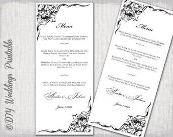 "Printable Wedding menu template -black and white elegant Scroll DIY menu - ""Corner Scroll"" digital printable menu -Editable download"