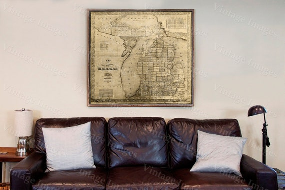 old michigan map vintage 1856 old map of Michigan Old Antique Restoration Style Map Lake Michigan map Fine art map michigan student gift Map