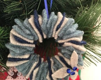 Felted Wool Wreath Ornament // Teal, Lt Gray, Dk Blue