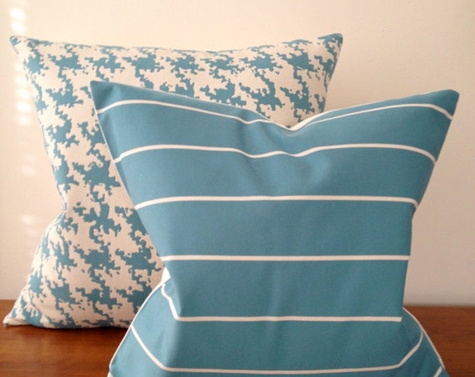 Decorative Pillow Teal and White Striped -Medium Weight Cotton with White Linen Backing- Invisible Zipper Closure.