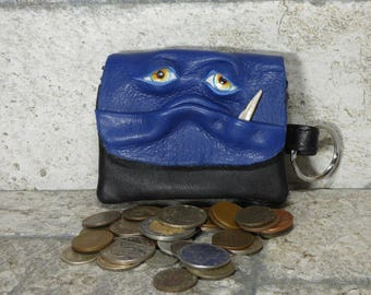Coin Purse Zippered Change Purse Blue Black Leather Monster Face Pouch Key Ring Harry Potter Labyrinth 40