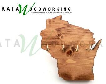 Wisconsin Wood Cut-Out Key Holder - Handmade!