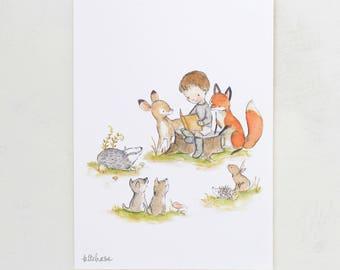 Woodland nursery art, boy art, Woodland Story Boy, Giclée print, 5x7, 8x10, 11x14