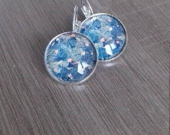 Earrings, tropical pattern