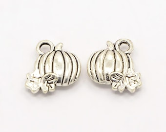 5 Pieces Antique Silver Pumpkin Charms, 11 x 11mm