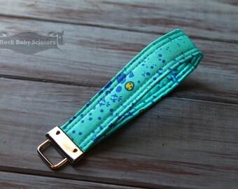 Teal Blue Alison Glass Sun Print Grove Key Fob key chain