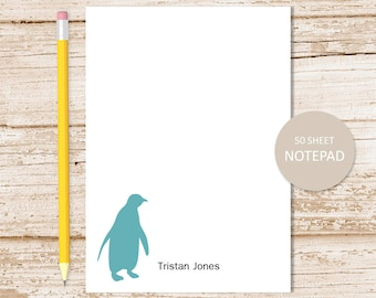 personalized notepad . penguin notepad . penguin note pad . silhouette, arctic polar animal . personalized stationery stationary