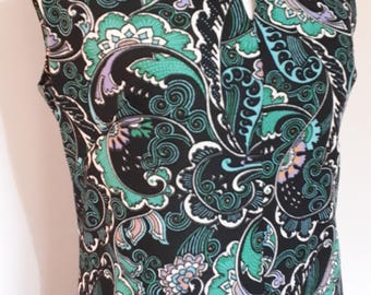 Vintage dress 70s green floral paisley print maxi dress size  medium to large