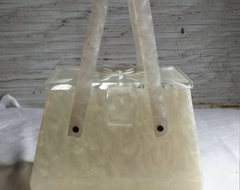 Vintage late 40s early 50's Lucite Evening Purse. No Damage.  No Chips or Cracks. Intact. Fully Functional.  Clear White with Clear Lid.