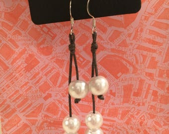 Layered Three Pearl and Leather Dangle Earrings