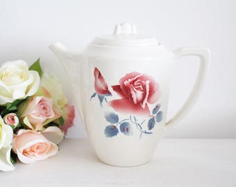 Vintage French Ironstone Coffee Pot - Digoin Sarreguemines - Janine - Rose Pattern