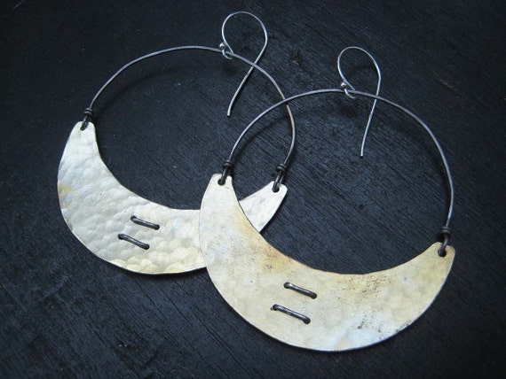 Stitched Brass Crescent Earrings
