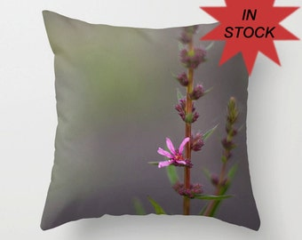 """16"""" Floral Nature Pillow Cover, Country Cottage Accent Cushion, Handmade French Chic, Floral, Fuchsia, Gift for Her, Botanical Art Decor"""