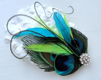 MAUREEN Natural, Turquoise, Lime, and White Peacock Feather Fascinator, Cocktail Fascinator, with Pearl and Rhinestone