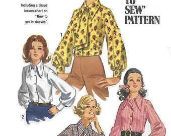 Simplcity 8299 Womens 60s Blouse and Ascot Sewing Pattern Size 14 Bust 36