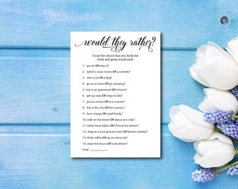 Bridal Shower Game, Would They Rather, Wedding Shower Game, Elegant Fun Bridal Game, Party Game, Printable PDF, Instant Download E138B