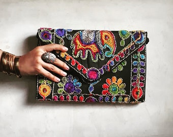 Embroidered purse, Over-sized clutch, Banjara bag, Elephant bag, Ethnic clutch,  Tribal bag, Indian bag, Boho clutch, Gypsy purse, Sling bag
