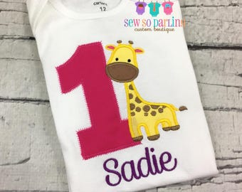 Pink and purple first birthday outfit girl - 1st Birthday Giraffe Girl Shirt - Giraffe Birthday Shirt - Girl Giraffe Birthday Outfit