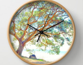 Tree photo clock, summer time photo wall clock, home decor clock, nature lover clock, foliage nature clock,  tree print clock, rustic decor