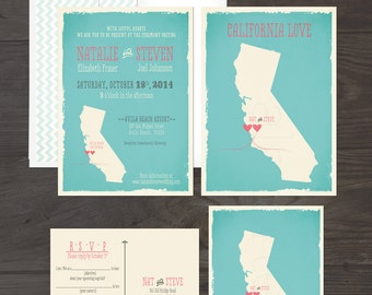 State Love Wedding Invitation and Mab-Lib style RSVP postcard Map Destination wedding DEPOSIT Payment