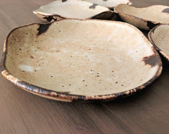 Salad Plate, Dessert Plate, Rustic Pottery Plate, Speckled Stoneware Dinnerware, Farmhouse Pottery,  Each Sold Separately