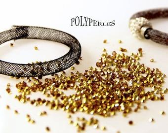 Kit (8mm) mesh tube Bracelet black and gold rhinestones