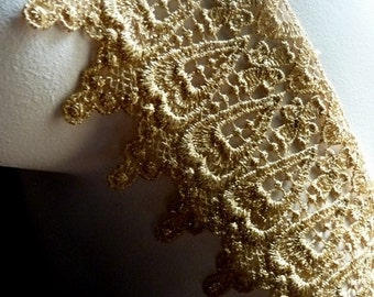 Gold Lace Venice Style for Lyrical Dance, Ballet, Crowns, Bridal, Costumes GL 6