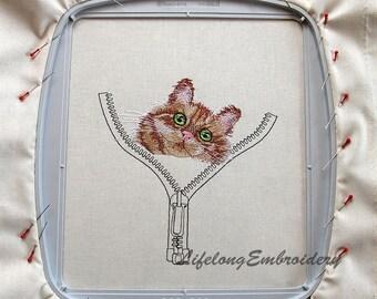 A Digital Machine Embroidery Cat In The Zip Design