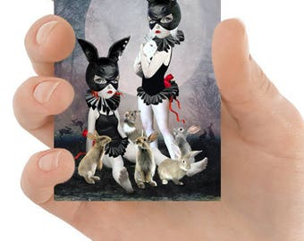 ACEO Card | Rabbit Girls ACEO Card | Miniature Art | ACEO print | Artist Trading Card | Rabbit Rendezvous