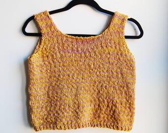Yellow & Pink Soft Organic Cotton Knit Cropped Tank Top