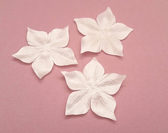 6 flowers for wedding, scrapbooking, cardmaking, sewing jewelry ivory silk satin