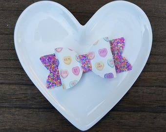 CANDY CONVERSATION HEARTS Valentine's Day Bow Clip or Headband - Pastel Candy Talking Hearts Hairclip, Confetti Cake Glitter Bow Headband