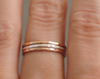 2 Rose Gold Rings and 1 Silver Ring - set of 3 Sterling Silver and Rose Gold Filled stackable hammered rings